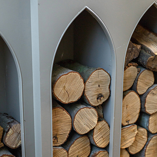 Inbuilt storage with firewood