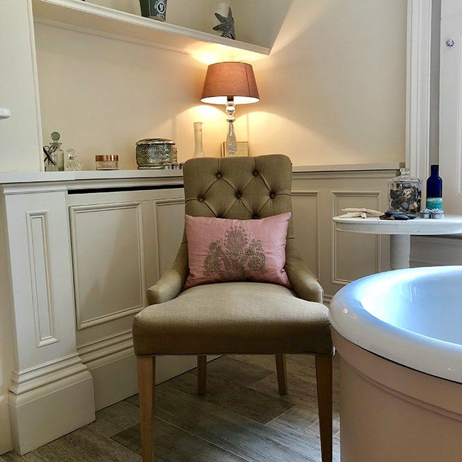 bathroom and chair